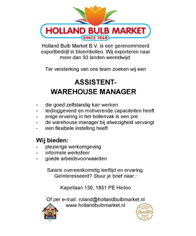 ASSISTENT- WAREHOUSE MANAGER
